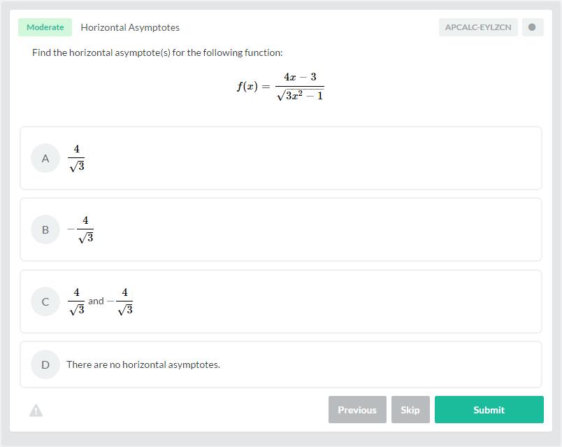 Horizontal Asymptotes AP Calculus AB-BC Practice Question