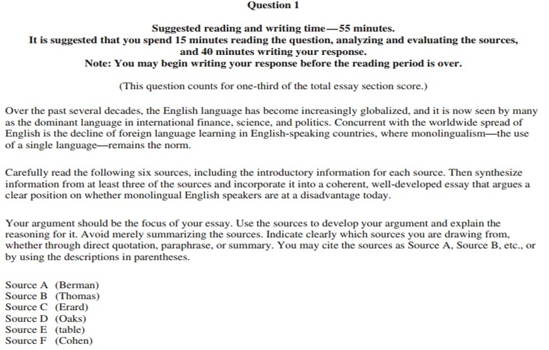 Types Of English Essays  It Is Asking You To Use The Six Sources To Create A Coherent  Welldeveloped Argument From Your Own Position On Whether Or Not  Monolingual English  Health Care Essay also Proposal Argument Essay Topics The Ultimate Guide To  Ap English Language Frqs  Albertio Persuasive Essay Ideas For High School