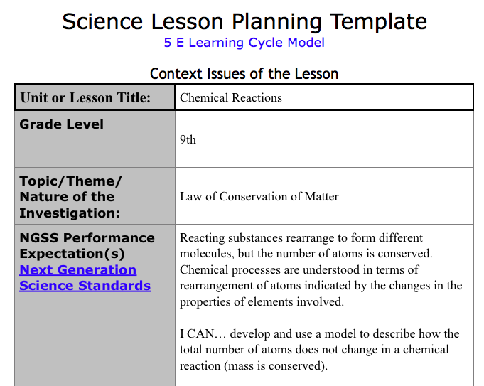 How To Write NGSS Lesson Plans Albertio - Learning cycle lesson plan template